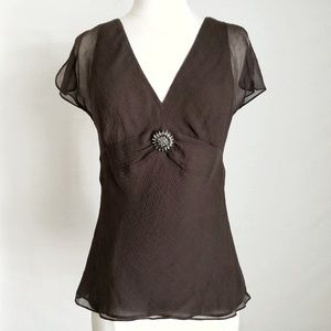 Kenneth Cole Silk Brown Crystal Floral Brooch Top